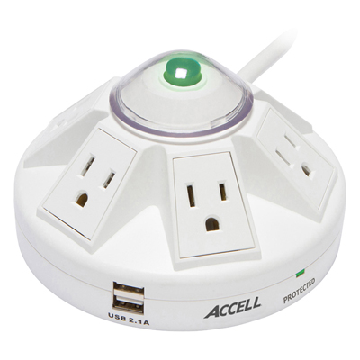 Accell Powramid® 6-Outlet Power Center and USB Charging Station