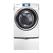 7.5 cu. ft. King-Size Capacity, Gas Touch Screen LCD Dryer (White)