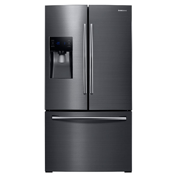 "36"" Wide, 25 cu.ft. French Door with External Water & Ice Dispenser (Black Stainless Steel)"