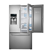 "36"" Wide, 28 cu. ft. Capacity 3-Door French Door Food ShowCase Refrigerator with Dual Ice Maker (Stainless Steel)"
