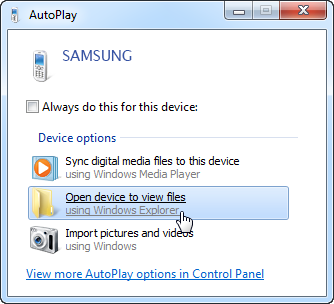 AutoPlay window