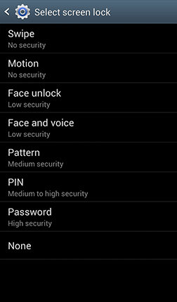 Screen Lock Menu