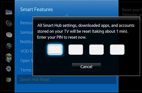 How do I reset the Smart Hub on my Samsung 2014 Smart TV?