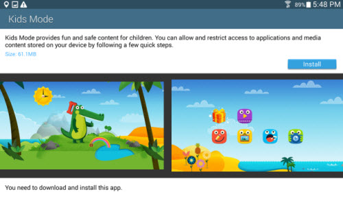 How do I install and use Kids Mode on my Samsung Galaxy Tab S?