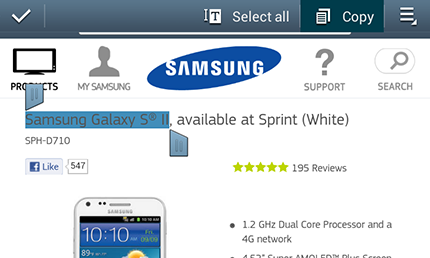 How do I Copy, Paste, Search, and Share Text on my Samsung Galaxy S