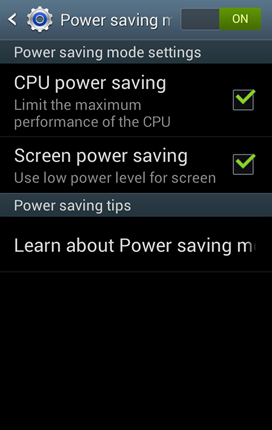 Power saving mode to adjust the following power saving settings