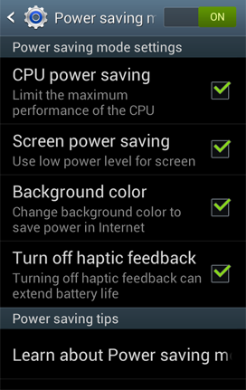 Power Saving Settings Screen