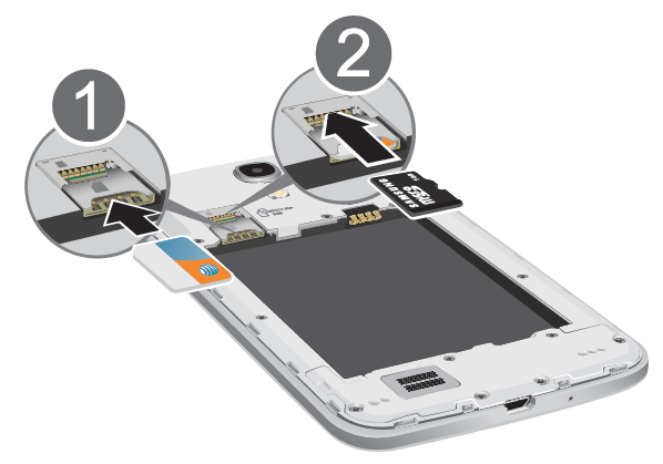 card into the SIM card socket until the card clicks into place (1